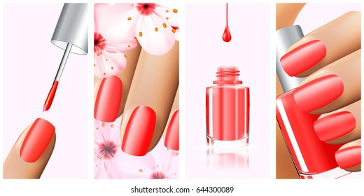 Colorful red collection of nail designs for summer and spring. Vector 3d illustration. Nailpolish lacquer ads, nail polish splatter on white background. Manicure vogue ads for design
