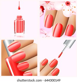 Colorful red collection of nail designs for summer and spring. Vector 3d illustration. Nailpolish