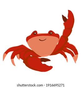 Colorful red crab vector illustration. A sea creature in a flat design. The crab shell icon is isolated on a white background. A water animal with claws