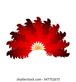 colorful red feather fan theater or carnival accessory made of feathers. easy to use