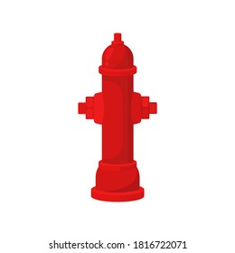 Colorful red fire hydrant, icon isolated vector illustration on white background. Equipmentused street by firefighters for extinguishing flames. Cartoon flat design. Vector illustration.