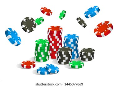 Colorful red, green, blue and black casino chips flying and stack isolated on white background, gambling game concept, vector illustration