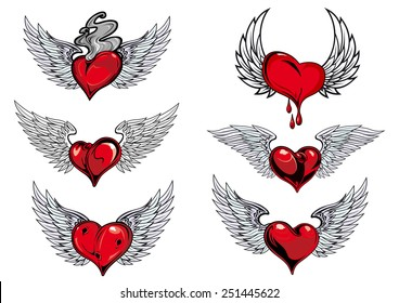 Colorful red and grey winged heart icons with one dripping blood, one smoking hot, in different shapes for tattoo design