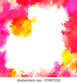 Colorful Red, Pink and Yellow Vector Paint Splashes. Indian Holi Festival Background. Watercolor Banner with Place for Your Text. Bright Isolated Borders. Beautiful Frame for Cards and Posters.