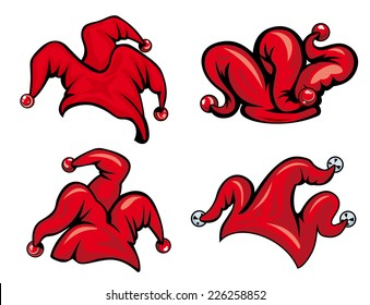 Colorful red vector jester hats with bells in various shapes isolated on white