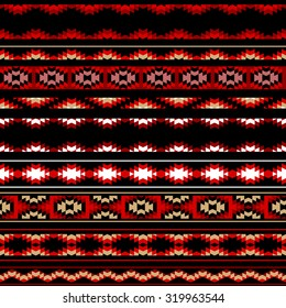 Colorful red white and black aztec striped ornaments geometric ethnic seamless pattern, vector