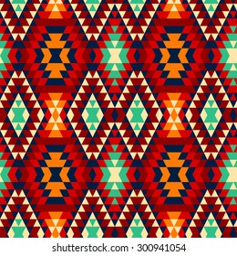 Colorful red yellow blue and black aztec ornaments geometric ethnic seamless pattern, vector