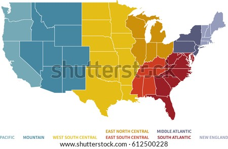 North Central Us Map.Colorful Regional Map United States Stock Vector Royalty Free