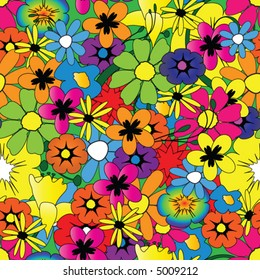 Colorful repeating flower pattern vector