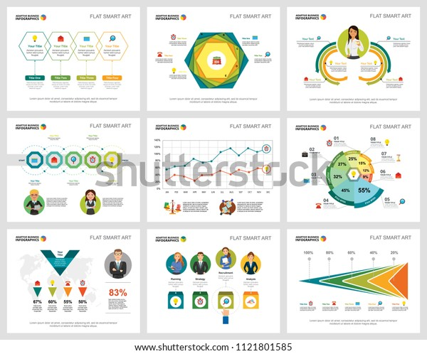Colorful research or statistics concept infographic charts set. Business design elements for presentation slide templates. Can be used for financial report, workflow layout and brochure design.