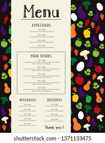 Colorful Restaurant menu flyer template design vector font outlined  Skrawk Serif background and texte on two separate layer