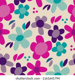 Colorful retro abstract flowers seamless pattern. Simple floral vector motif for background, wrapping paper, fabric, surface design