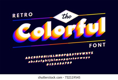 Colorful retro alphabets 80's, 90's with VHS look effects, font with multi-colored layers isolated on dark background. vector illustration