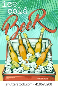 Colorful retro beer bar poster with bottles of light beer with slices of lime, ice cubes in the fridge standing on the beach. Summer poster.