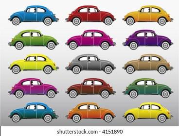 colorful retro cars, vector