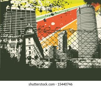 Colorful retro city vector Illustration