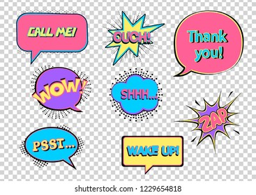 Colorful retro comic bubbles and elements set with black halftone shadows on transparent background.  Wow! Ouch! Shh. Psst. Wake up! Call me! Zap! Thank you! Vector illustration in pop art style.
