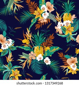 Colorful retro dark tropical forest exotic flowers bird of paradise ,hibiscus,lily , palm leaves  seamless vector pattern,design for fashion,fabric,wallpaper,web and all prints  on dark blue