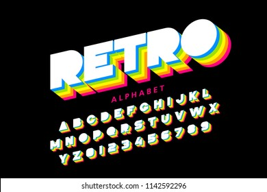 Colorful retro font, 80s style alphabet letters and numbers, vector illustration