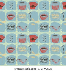 Colorful retro hand drawn seamless pattern with coffee and tea cups