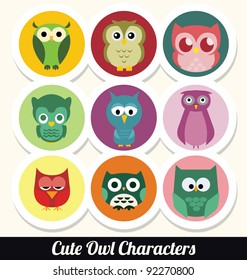 Colorful Retro Owl Character Set