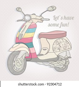 Colorful retro scooter. Vintage vector illustration.