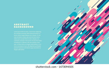 Colorful retro style template design with abstract elements and text. Vector illustration.