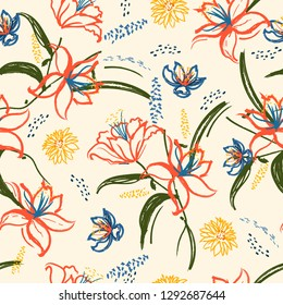 Colorful retro summer lily and blooming flowers seamless pattern in vector hand brushed watercolor ,Hand painting design for fashion,fabric,wallpaper,web and all prints on vintage light beige