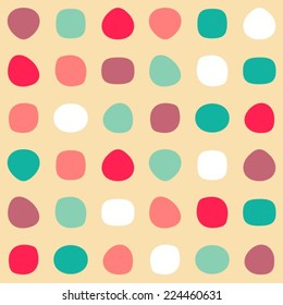 Colorful retro vector seamless pattern with round shapes