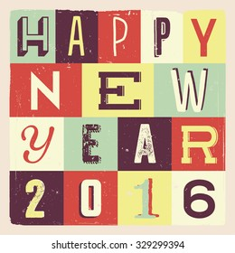 Colorful Retro Vintage 2016 New Year Poster Background