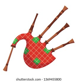 Colorful retro wind musical instrument bagpipe. National Scottish cultural musical instrument bagpipe. Bag with a lot of breathing tubes. Vector cartoon illustration isolated.