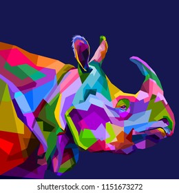 colorful rhinoceros on pop art