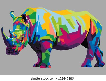 colorful rhinoceros on popart style with isolated backround
