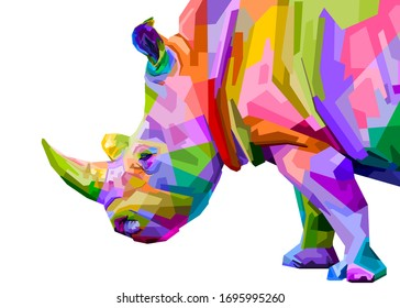 colorful rhinoceros pop art style isolated on white background. vector illustration