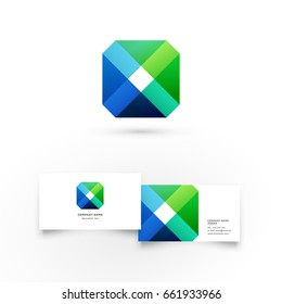 Colorful rhombus. Modern icon design logo element with business card template. Best for identity and logotypes