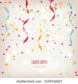 Colorful ribbon and confetti celebration isolated on white, vector art and illustration.