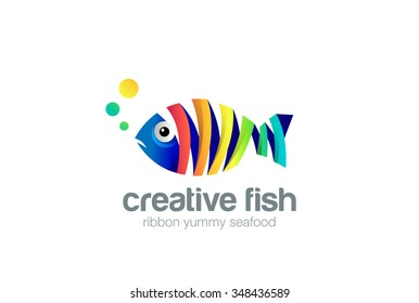 Colorful Ribbon Fish abstract Logo design vector template. Creative Seafood Zoo Aquarium Logotype concept funny icon.