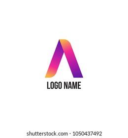Colorful Ribbon Logo. Letter A Logo Icon Design.
