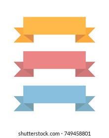 Colorful ribbons on white background. Flat vector set of ribbons. yellow, pink and blue banner for web.