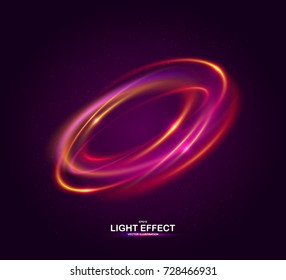 Colorful ring with luminous swirling spirals. Glowing red-pink abstraction on dark background. Brilliant vortex, sparkles waves and swirl. Sparkling neon light effect, shiny magic effects