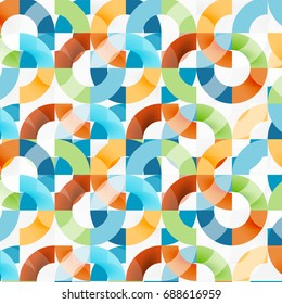 Colorful rings on grey background, modern geometric pattern design. Vector business or technology presentation design template, brochure or flyer pattern, or geometric web banner