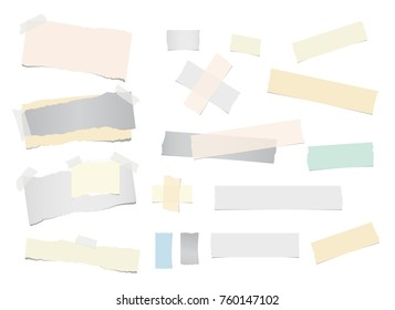 Colorful ripped notebook, note paper, sticky adhesive, tape for text or message are isolated on white background. Vector illustration.