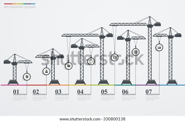 Colorful Road Infographic Timeline Icons Construction Stock Vector