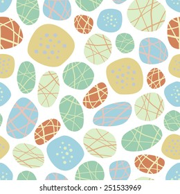 Colorful rock pattern. Cute circle pattern. Natural ornament on white background.