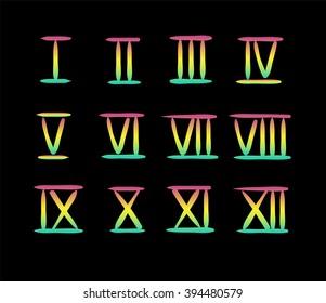 colorful roman numerals