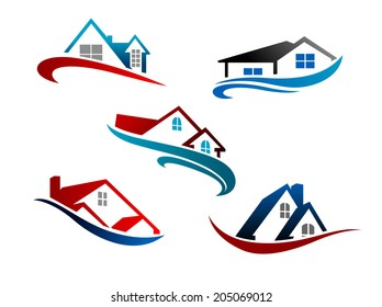 Colorful roof of houses with swoosh as the symbol or logo of real estate business isolated over white background