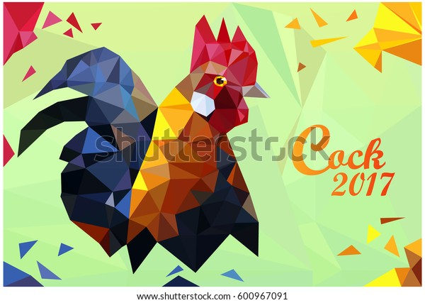 Colorful rooster low polygon standing