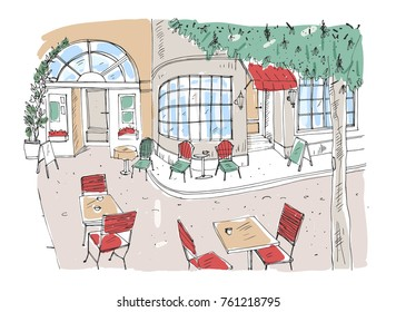 Colorful rough drawing of outdoor cafe, restaurant or coffeehouse with tables and chairs standing on city street beside beautiful building with large panoramic windows. Hand drawn vector illustration.