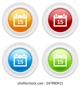 Colorful round buttons with calendar icon on white background