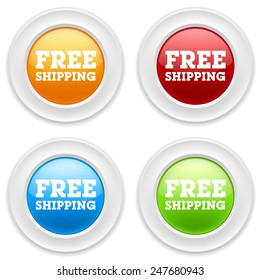 Colorful round buttons with free shipping sign on white background